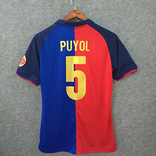 SU Carlos PUYOL#5 Retro Trikot 1999-2000 Full Patch RED&Blue Color (M)