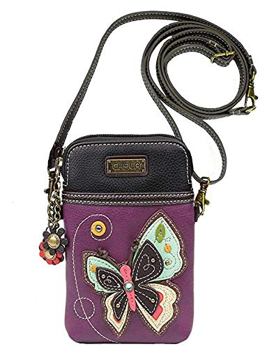 Chala Crossbody Cell Phone Purse - Women PU Leather Multicolor Handbag with Adjustable Strap - New Butterfly Purple