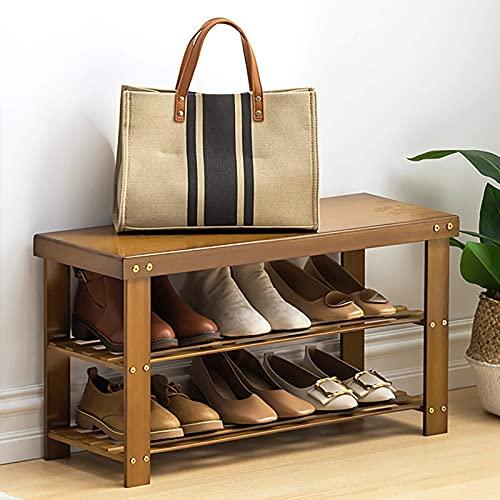 YQCX Zapatero,Banco de Zapatos de 2 Niveles, Zapato de Alenamiento Multifuncional de Bambú, Banco de Estantes de Entrada para Baño, Pasillo O Sala de Estar-Marrón 100X26X41Cm (39X10