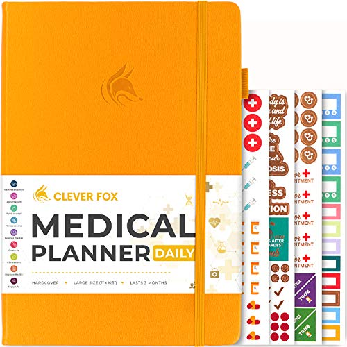 Clever Fox Medical Planner Daily – Medical Notebook, Health Diary, Wellness Journal & Logbook to Track Health – Self-Care Medical Journal – 3 Months, Undated, 7″ x 10.5″, Hardcover (Amber Yellow)