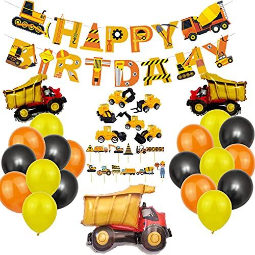 Decorazione di Compleanno di Escavatori,Decorazioni per Compleanni per Bambini con Escavatore,Palloncino Escavatore,Banner Happy Birthday,Palloncini Compleanno Per Ragazzi