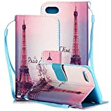 iPhone 8/iPhone 7 Case, iPhone SE 2020 Case,Gift_Source Premium PU Leather Flip Wallet Card Slots Magnetic Cover Stand Feature Case with Wrist Strap for iPhone SE (2020)/iPhone 8/7 4.7' [I Love Paris]