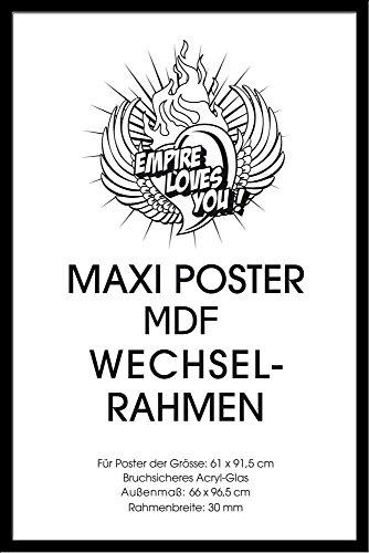 Wechselrahmen der Marke Shinsuke® für Maxi-Poster der Grösse 61x91,5 cm aus MDF Holzfaserwerkstoff. Aussenmaß 96,4x65,8 cm - Holzoptik schwarz. 30mm P