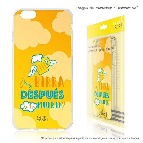 Funnytech® Custodia in Silicone (TPU) per Samsung Galaxy S5 [Design Esclusivo, Stampa ad Alta Definizione] Cover, Case [Frase Birra despues de Fondo Amarillo nubes]