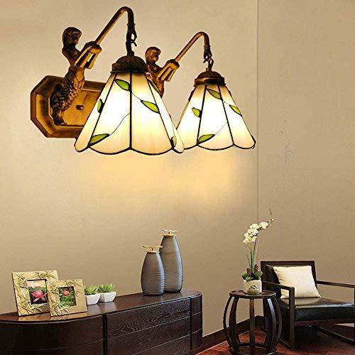 DXDUI Lámparas de Pared, lámpara de Pared Sombras Ventanas Retro libélula, Tiffany lámparas de Techo, Plancha Sencilla Luces Interiores de Vidrio Forjado,Segundo