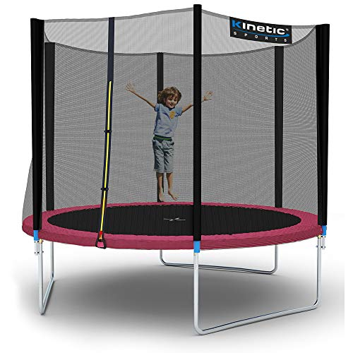 Kinetic Sports Outdoor Gartentrampolin Ø 310 cm, TPLH10, Komplettset inklusive Sprungtuch aus USA PP-Mesh +Sicherheitsnetz +Randabdeckung, bis 160kg, GS-geprüft,UV-beständig, PINK