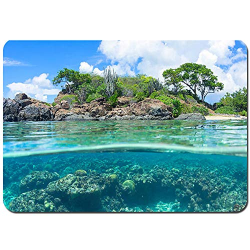 Weich Badematte Rutschfester&Saugfähige Ocean Natural Coastal Sandy Beach und Carribean Seashore Heavenly Paradise View Image Badteppich Vorleger Waschbar für Badezimmer-80x60cm