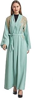 عباية اسلامية طويلة مطرزة بتصميم كاجوال للنساء باللون الاخضر، TH935