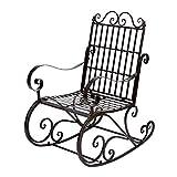 Greensen Mecedora,Mecedora al Aire Libre Silla de Mecedora de Hierro Antiguo Asiento de Porche para Muebles de jardín al Aire Libre 60.5 x 90 x 104.5cm