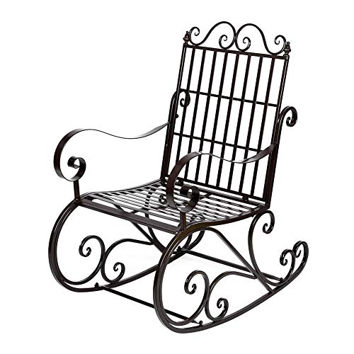 lyrlody Rocking Chair,Iron Rocker Chair Sun Lounger Chair Garden Relaxing Reclining Chair Lazy Arm Chair Patio Porch Seat for Adults Indoor Outdoor Park Backyard Coffee,23.82×35.43×41.14inch