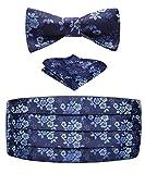 Enlision Fascia dello smoking E cravatta a farfalla e fazzoletto da taschino per uomo Set da smoking in raso