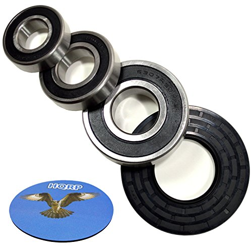 HQRP Bearing and Seal Kit compatible with GE WBVH5200K0WW WBVH5300K0WW WBVH5300K1WW WBVH5300K3WW WBVH6240F0GG WBVH6240F0WW Front Load Washer Tub + HQRP Coaster