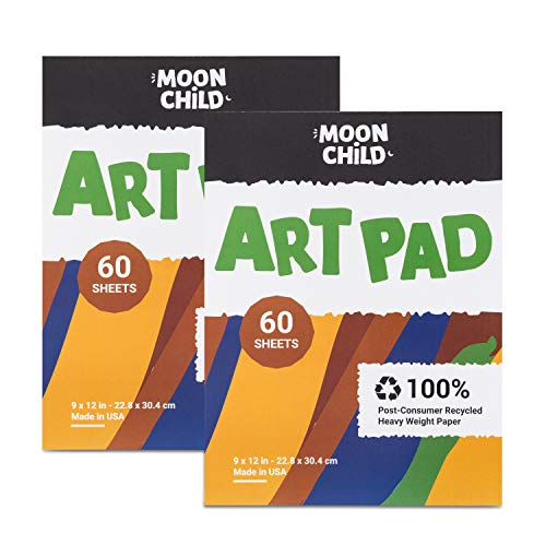 Moon Child Art Paper Pad 2-Pack for Finger Painting, Drawing and Coloring, 60 Sheets, Kid's and Toddler's Multimedia Paint Use, Unwaxed Heavy Stock for Crayons and Projects