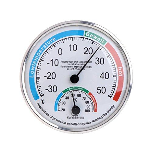 Angelliu - Termometro da parete per interni, igrometro, termometro da parete vintage per la casa, in alto, in basso, garage, serra