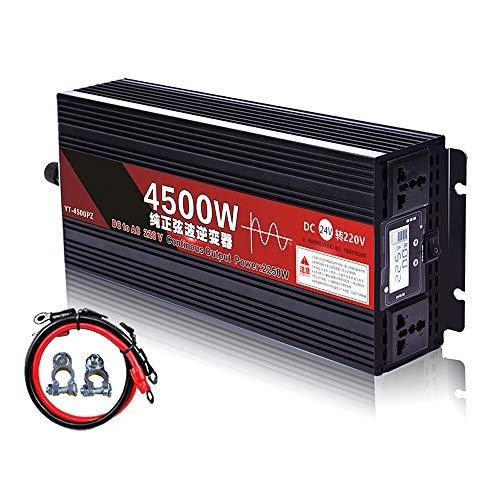 90GJ Inversor de Onda sinusoidal Pura - Onda sinusoidal de Alta Potencia 24v-220v Convertidor de Onda sinusoidal Pura, 2250W / 4500W (Pico), Adecuado para Acampar, Viajar y automóvil/Barco