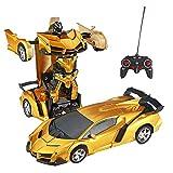HSKB RC Transformator Roboter Auto, Fernbedienung 2-in-1 Auto und Roboter Ferngesteuert Transformers Auto & Robot Verwandelbar/One Touch Transforming für Jungen Spielzeug Geschenk (Gold)