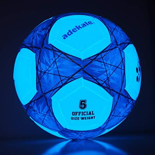 Adekale Balones de fútbol Tradicionales Balones de fútbol iluminados Brillan en la Oscuridad Balón de fútbol Balones de fútbol para jóvenes y Adultos para Juegos nocturnos -Tamaño 5 - Tamaño Oficial…