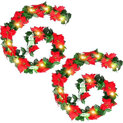 2 Pieces Christmas Artificial Flowers Garland Christmas Poinsettia Garland Lighted Poinsettia Xmas Decorations with Holly Leaves and 2 Pieces 20 LED String Lights Battery Operated LED Lights