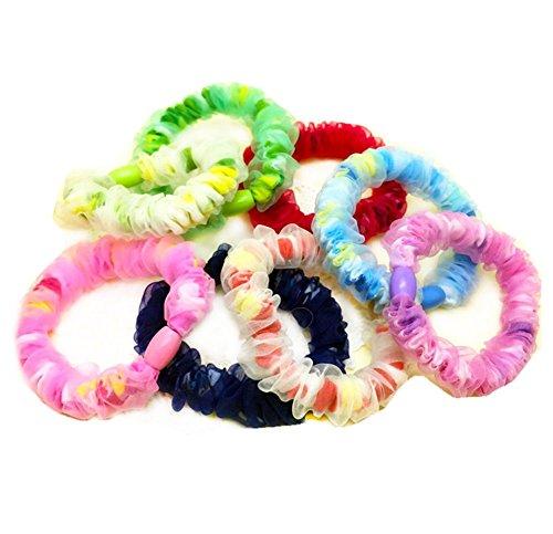 Kentop Bande de Cheveux Elastique Coloré Bande de dentelle grossière Hair Tie Elastique Cheveux Bande de Cheveux pour Enfant Filles Femme Couleur aléatoire 10PCS