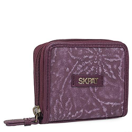 SKPAT - Cartera Billetero Tarjetero Monedero de Mujer con Cremallera. 5 Compartimentos Tarjetas y Documentación. Piel Sintética Protección RFID 304626, Color Granate