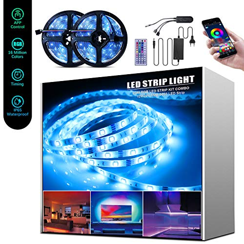 Beedove Tira LED 10 m, 12 V 5050 RGB Bluetooth, 300 LED, 20 colores, 8 modos, sincronización con música, impermeable IP65, para comedor, Navidad, bar, Halloween y fiestas