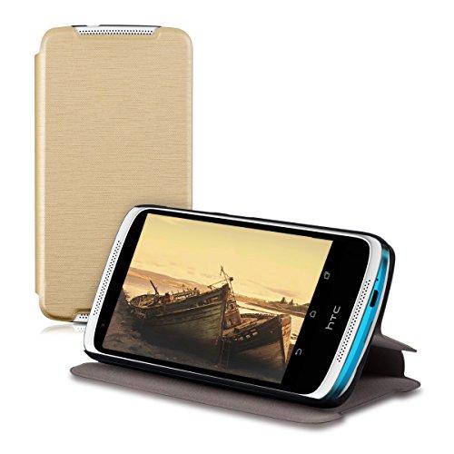 kwmobile HTC Desire 526G Hülle - Flip Handy Schutzhülle - Cover Case Handyhülle für HTC Desire 526G - Gold