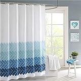 JRing Duschvorhang Textil 180x200 Gradient Twill Schimmelresistenter & Wasserabweisend Shower Curtain mit 12 Weiß Duschvorhangringen