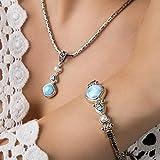 Makluce Larimar Piedra larimar, Colgante único Hecho a Mano de Plata esterlina 925, Hermosa Etiqueta de Playa Azul Natural del Caribe para Damas y niñas