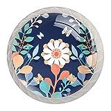 Perillas de gabinete decorativos Tiradores de muebles redondas Pomos cristal para armarios, puertas, cajón y cocina 4 Piezas, Flores florales 3D