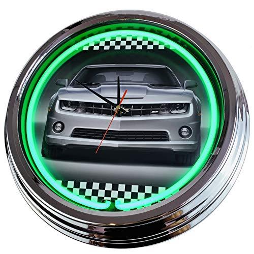 Neon Uhr Camaro Chevrolett Wanduhr Deko-Uhr Leuchtuhr USA 50's Style Retro Neonuhr Esszimmer Küche Wohnzimmer Büro (Grün)