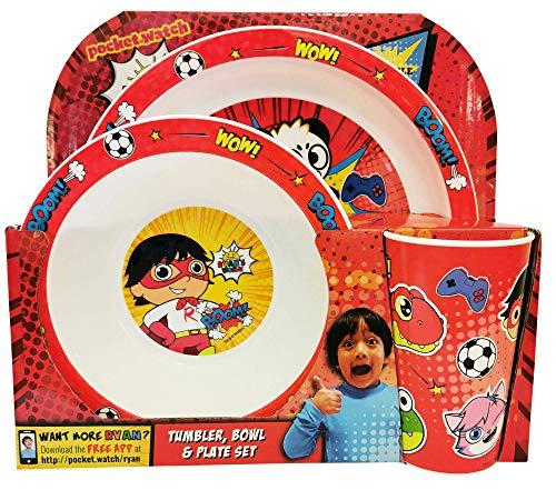 Ryan's World 3-teiliges PP-Geschirr-Set für Kinder, mit Teller, Schüssel, Becher, Geschirr