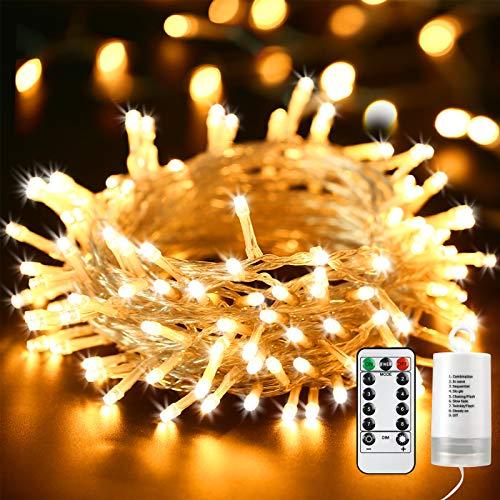 Qedertek Luci Natalizie a Batteria da Esterno, Catena Luminosa 12M 100 LED, Cavo Trasparente, Funzione di Timer con telecomando, Luci Stringa per Albero di Natale, Luci Bianco Caldo Addobbi Natale
