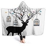 Inaayayi - Manta de forro polar con capucha, diseño de ciervo con pájaros, estilo vintage, suave, decorativa, cálida, acogedora, de franela, manta de felpa, resistente, para niños y adultos, negro, 80'x60'