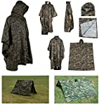 Ultimate Arms Gear Waterproof Rip Stop Woodland Digital Military G.I. Style Poncho Tent Shelter