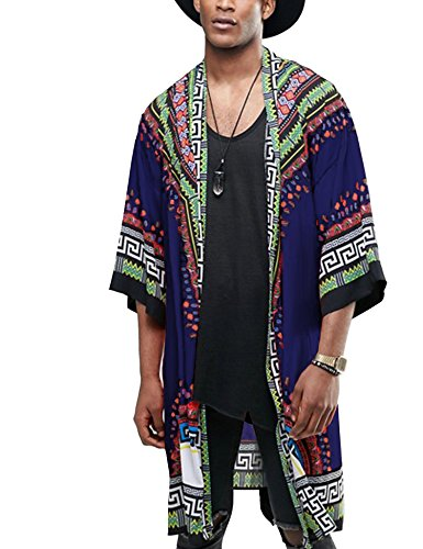 COOFANDY Mens African Dashiki Printed Ruffle Shawl Collar Cardigan Vintage Cloak Open Front Coat,Navy Blue,Small