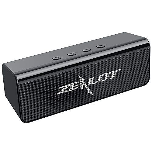 Bluetooth Lautsprecher, Dual Treiber Kompakter Kabellos Lautsprecher mit Kraftvollem Klang, 24 Stunden Spielzeit, Wasserfest, Freisprechfunktion für iOS, Andriod - Schwarz