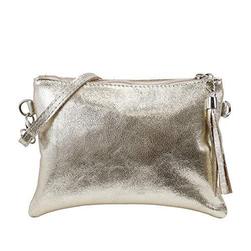 SH Leder Echtleder Umhängetasche Clutch kleine Tasche Abendtasche 22x15cm Anny G248 (Gold)