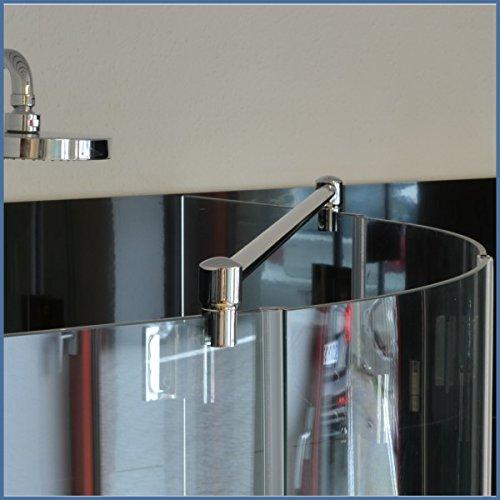 Stabilisationsstange für Eck-Duschen, Haltestange Glas-Glas, Stabilisator Runddusche (100cm, Chrom)