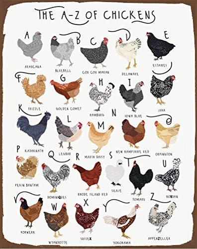 A-Z Of Chickens Poster, Chicken Print, Chicken Breeds Art, Alphabet Poster, Chicken...