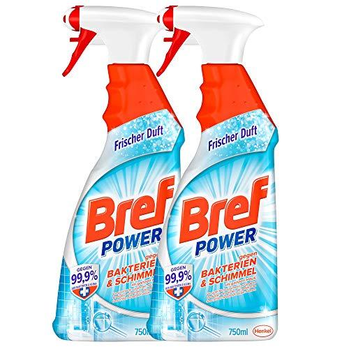 Bref Power gegen Bakterien und Schimmel, Sprühflasche, entfernt 99,99 Prozent der Bakterien und Virenarten für hygienische Sauberkeit (2 x 750 ml)