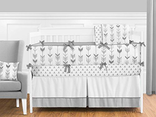 Sale!! Grey and White Woodland Arrow Boy, Girl, Unisex Baby Crib Bedding Set with Bumper by Sweet Jo...