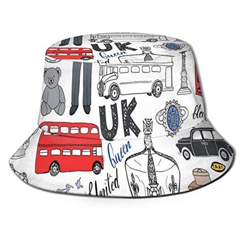 Unisex Fisherman Cap, ich Liebe London Doppeldecker Bus Telefonzelle Kabine Krone des Vereinigten Königreichs Big Ben, Travel Beach Hat
