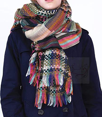 WEIYIM Winter Schal Design Frauen Regenbogen Schal Winter Warme Weiche Quaste Schals Pashmina Weibliche Plaid Schal Damen Langer Schal 180 cm