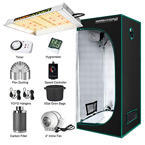 "MARS HYDRO Grow Tent Kit Complete TS600W LED Grow Light 2x2ft Full Spectrum 24'x24'x55' Hydroponics Grow Tent 1680D Canvas with 4"" Ventilation Kit for Grow House Grow Setup Kit"