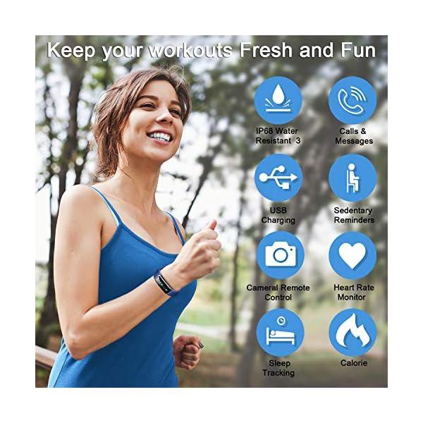 LETSCOM High End Fitness Trackers HR, IP68 Reloj de fitness impermeable con monitor de ritmo cardíaco, contador de pasos… 6