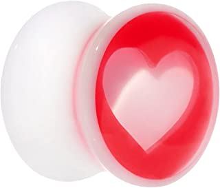 "Body Candy Acrylic White Red Heart Saddle Plug 9/16"" (1 Piece)"