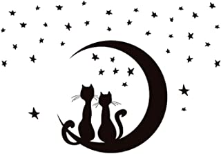 Winomo - Autocollant mural amovible - Motif représentant deux chats assis sur la Lune avec des étoiles tout autour - Pour ...