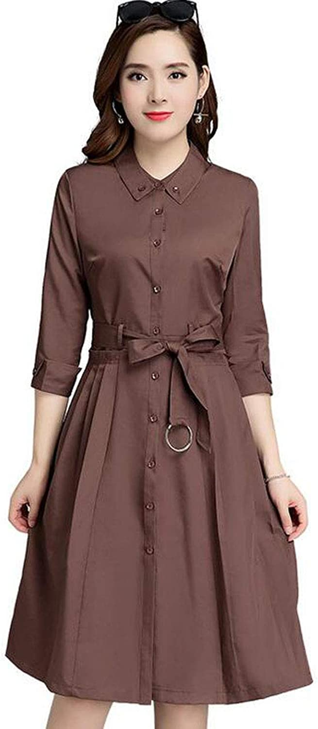 The Spring and Autumn New Thin Section SevenPoint Sleeves Waist Slim Long Trench Coat (color   Brown, Size   S)