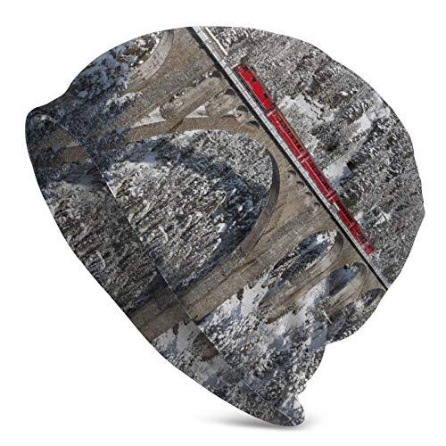 BGDFN Tren Invierno Viaducto de Wiesen Suiza Sombrero de Punto Gorros cálidos Gorros elásticos Suaves con puños de Calavera Gorro Diario para Unisex Negro