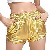 MAKARTHY Women's Metallic Shorts Elastic Waist Shiny Sparkly Rave Pants (Gold, Large)